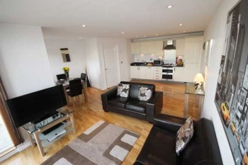 Open plan living area to serviced apartments