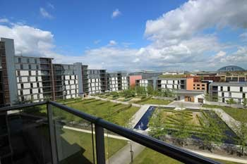 View from the balcony of a Vizion serviced apartment in Milton Keynes