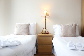 Serviced accommodation with double and twin bed options.
