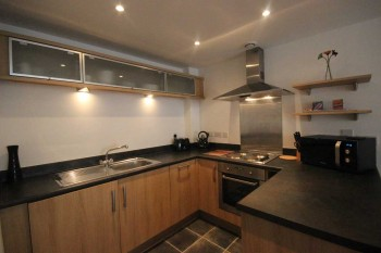 Kitchen in serviced apartment for travelling on business comforts