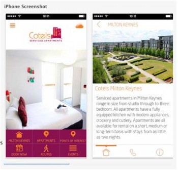 iPhone App Cotels serviced apartment screen shot