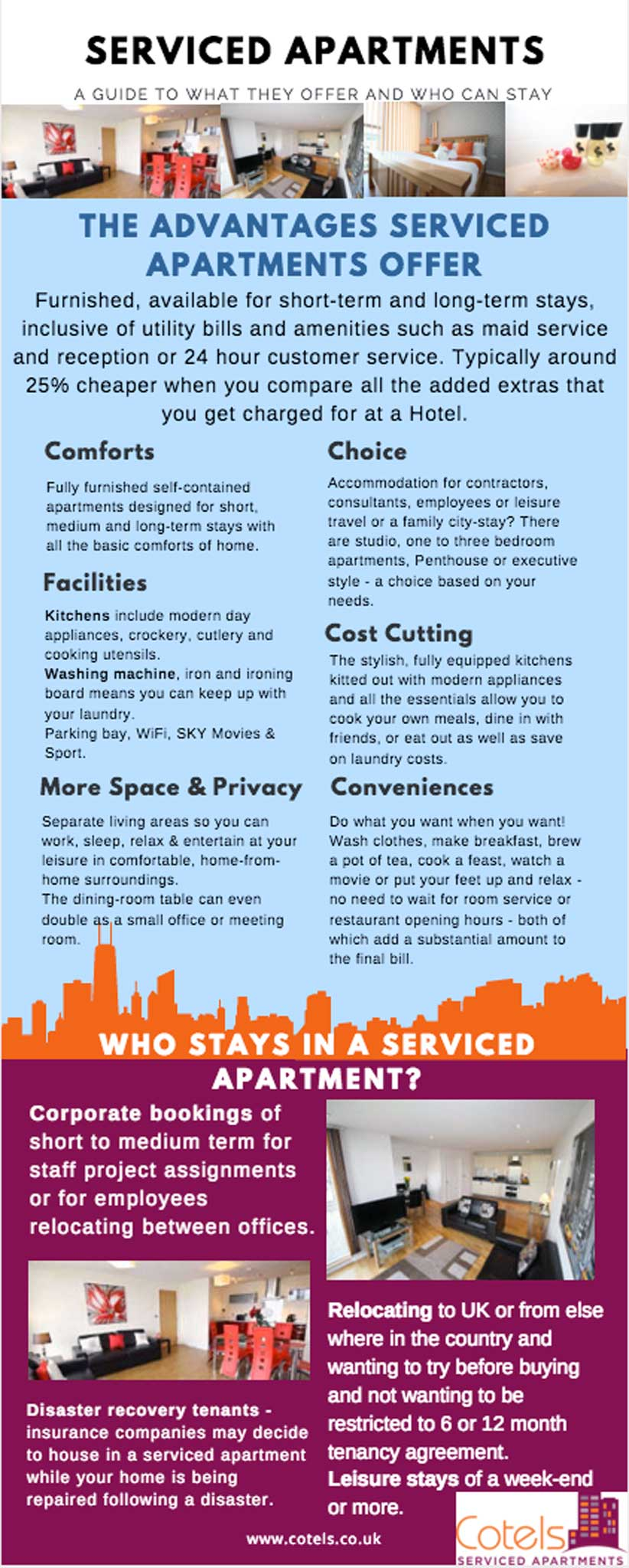 Infographic on the advantages of serviced apartments.