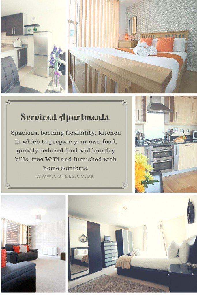 Collage of serviced apartment images
